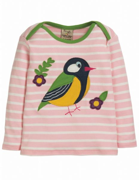 Frugi Bobby Applique Top Soft Pink Breton Finch